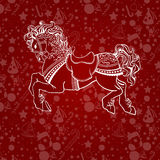 New year horse 2014. On red background Stock Photography