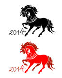 New Year of Horse. Horse symbol in black and red for New Year 2014 isolated Royalty Free Stock Photos