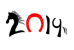 New 2014 year of horse symbol. Vector illustration Stock Photos