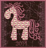 2014 new year horse. Vector element for design. It can be used for decorating of invitations, greeting cards, web page, decoration for bags and clothes royalty free illustration