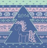 2014 new year horse. Vector element for design. It can be used for decorating of invitations, greeting cards, web page, decoration for bags and clothes Stock Photos