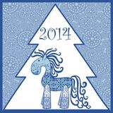 2014 new year horse. Vector element for design. It can be used for decorating of invitations, greeting cards, web page, decoration for bags and clothes Vector Illustration