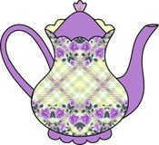 Floral roses teapot (time for tea). Shabby Chic. Stock Photo