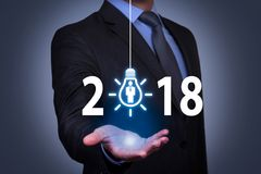 New Year 2018 Human Resource Concepts on Visual Screen. Working Royalty Free Stock Photos