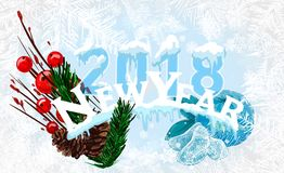 2018 New Year on ice frosted background. Global colors. One editable gradient is used for easy recolor Royalty Free Stock Photography
