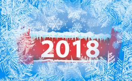 2018 New Year on ice frosted background. Global colors. One editable gradient is used for easy recolor Stock Photos