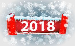 2018 New Year on ice frosted background. Global colors. One editable gradient is used for easy recolor Royalty Free Stock Photo