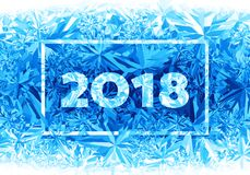 2018 New Year on ice frosted background Royalty Free Stock Images