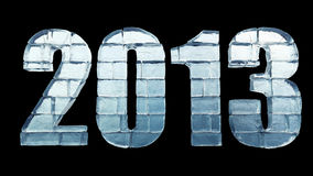 New Year - Ice word with clipping path. 2013 with clipping path on black background stock illustration