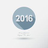 New Year 2016 Icon with long Shadow. Merry Christmas card or bac. Kground. Flat style Vector Illustration