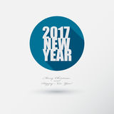 New Year 2017 Icon with long Shadow. Merry Christmas card or bac Stock Image