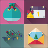 New year icon pack included calendar, santa claus bag, greetings card and garland Stock Photo