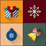 New year icon pack included christmas bell, ball, snowflake and gift Royalty Free Stock Image