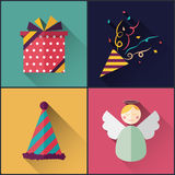 New year icon pack included christmas confetti, gift, hat, angel. Flat Design Style Royalty Free Stock Photos