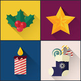 New year icon pack included christmas holly berry, star, sock, candle royalty free illustration