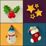 New year icon pack included christmas star, holly berry, snowman, sock stock illustration