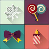 New year icon pack included christmas sweetmeats, snowflake, candle, bow royalty free illustration