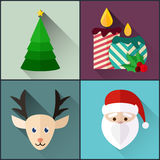 New year icon pack included christmas tree, candles, santa, deer. Flat Design Style Stock Images