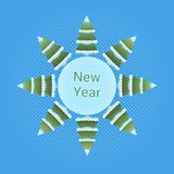 New Year Icon Pine Trees In Snow Over Blue Background Winter Holidays Concept. Flat Vector Illustration Stock Photo