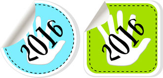 New year 2016 icon set. new years symbol original modern design for web and mobile app Stock Photos