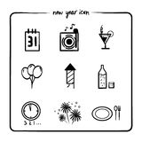 New year icon. Set, simple drawing Royalty Free Stock Photos