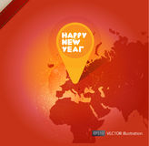 New year icon in world map. Vector background Stock Photo