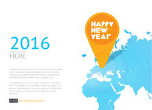New year icon in world map. Vector background. 2016 new year illustration with icon on world map on white background Stock Photos