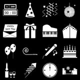 New year icons on black background. Stock vector stock illustration