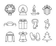 New Year icons black and white Royalty Free Stock Images