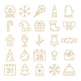 New Year icons. Christmas party elements. New Year Outline pictograms for web site design and mobile apps. Stock Photo