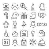 New Year icons. Christmas party elements. New Year Outline pictograms for web site design and mobile apps. Royalty Free Stock Photos