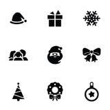 New year icons 9 icons set. Isolated, black on white background stock illustration