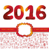 New year 2016.Icons,label,polygon numbers.Red. New year 2016 design template,card.Christmas Doodle icons ornament ,polygon numbers,label and ribbon.Different stock illustration