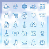 25 new year icons. 25 outline universal new year and christmas icons Royalty Free Stock Image