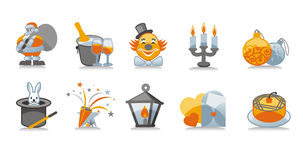 New Year Icons Set Stock Photos