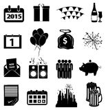 New year icons set. In black vector illustration