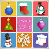 New Year Icons Set Royalty Free Stock Images