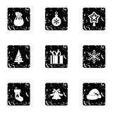 New year icons set, grunge style. New year icons set. Grunge illustration of 9 new year vector icons for web Stock Photography