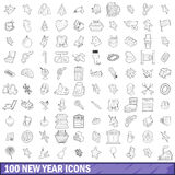 100 new year icons set, outline style. 100 new year icons set in outline style for any design vector illustration Stock Illustration