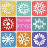 New Year Icons Set with snowflakes. Stock Images