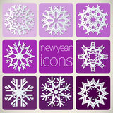 New Year Icons Set with Snowflakes. Stock Image