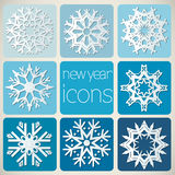New Year Icons Set with Snowflakes. Royalty Free Stock Photos