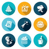 New year Icons Set. Vector Illustration. Isolated Flat Icons collection on a color background for design stock illustration