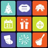New Year icons square. Set of nine white new year icons. eps10 Royalty Free Stock Photo