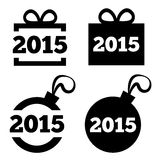 New Year 2015 icons. Vector black icons set. Christmas gift box, ball. Flat icons. Isolated on white background Stock Image