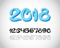 2018 New Year from icy numbers Royalty Free Stock Images