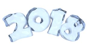 New Year 2018 icy text made of blue ice. New Year 2018 icy text written with numbers made of clear blue ice, Happy New Year 2018 winter icy symbol 3d Stock Photography