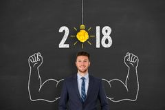 New Year 2018 Idea Concepts over Human Head Royalty Free Stock Images