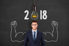 New Year 2018 Idea Concepts over Human Head. Working stock image