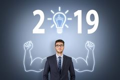 New Year 2018 Idea Concepts on Visual Screen. New year concepts royalty free illustration
